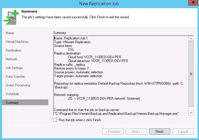 Configuring Cloud Replication Job - Zettagrid